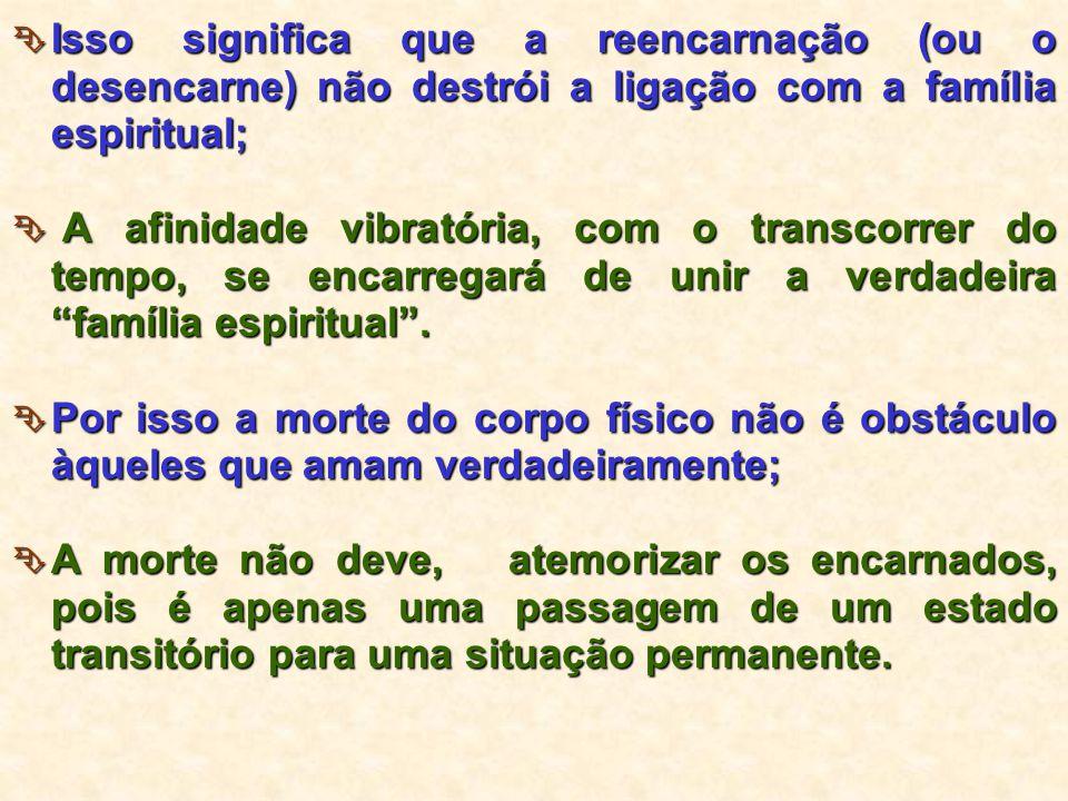 Isso significa que a reencarnação (ou o desencarne) não destrói a ligação com a família espiritual;