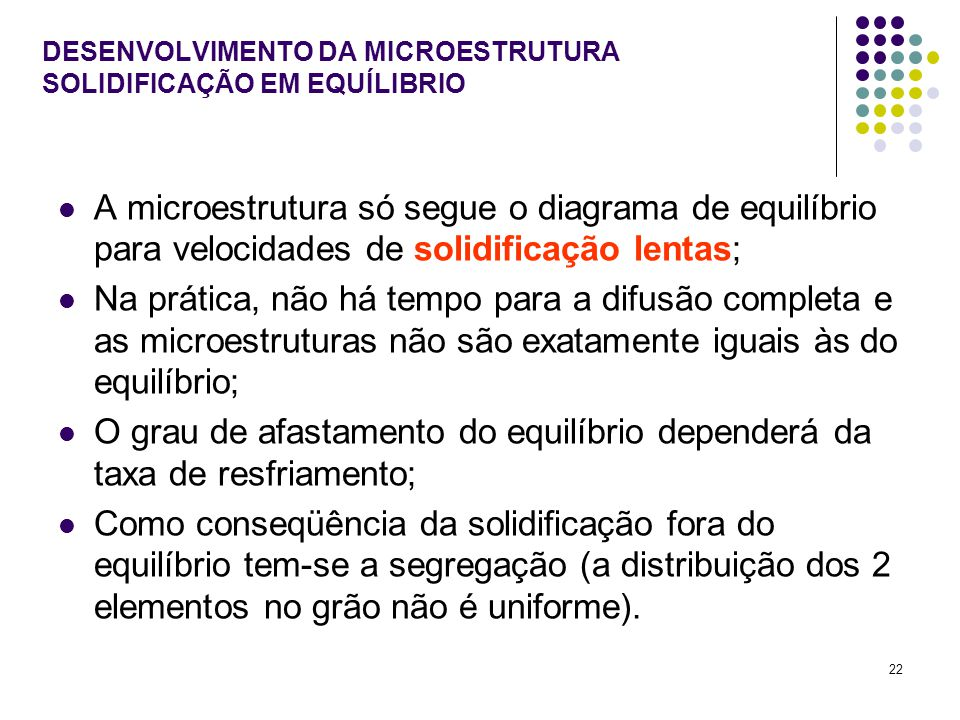 DESENVOLVIMENTO DA MICROESTRUTURA SOLIDIFICAÇÃO EM EQUÍLIBRIO
