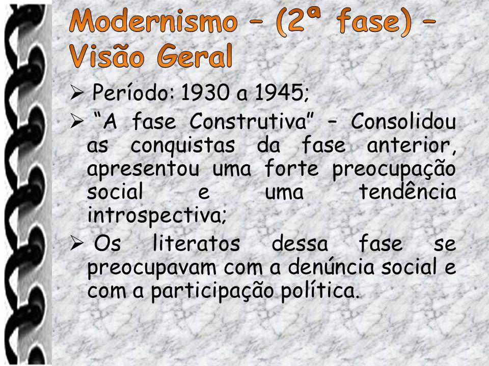 Modernismo – (2ª fase) – Visão Geral Período: 1930 a 1945;