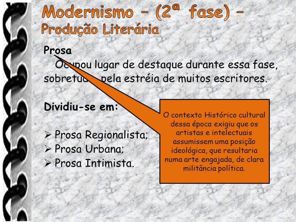 Modernismo – (2ª fase) – Produção Literária Prosa