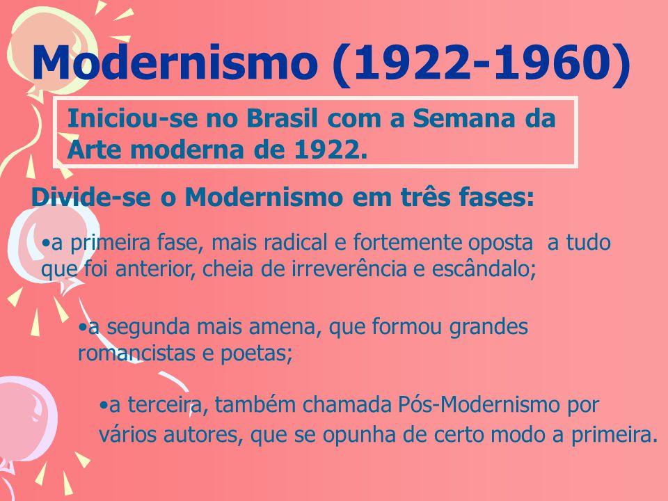 Modernismo (1922-1960) Iniciou-se no Brasil com a Semana da
