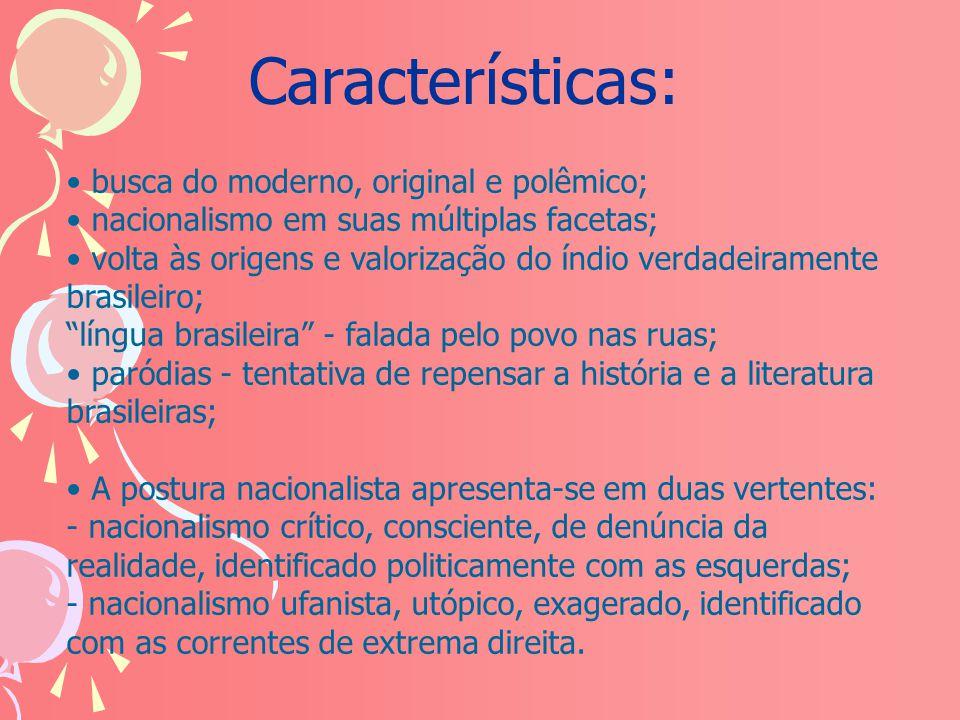 Características: busca do moderno, original e polêmico;