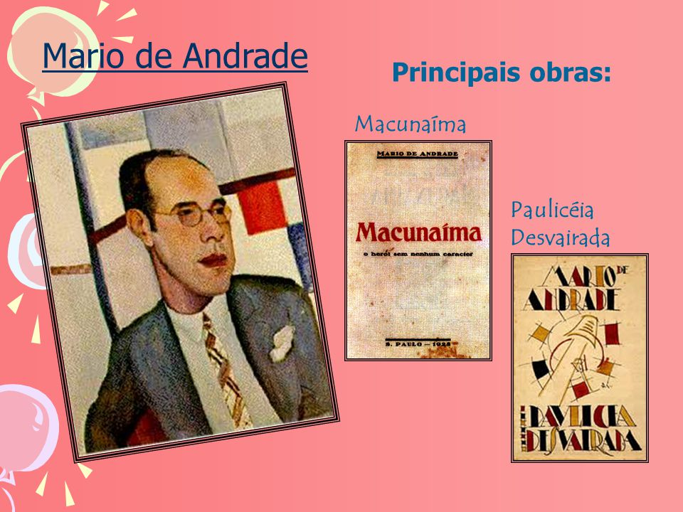 Mario de Andrade Principais obras: Macunaíma Paulicéia Desvairada
