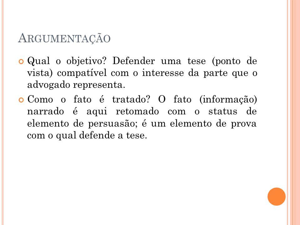 Argumentação Qual o objetivo Defender uma tese (ponto de vista) compatível com o interesse da parte que o advogado representa.