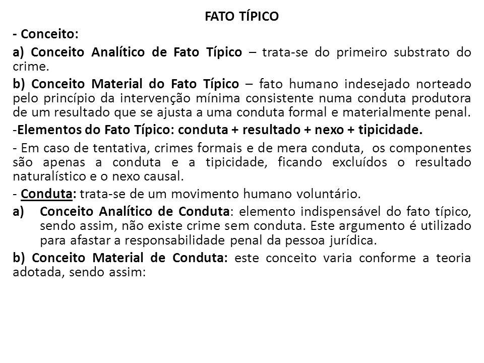 FATO TÍPICO - Conceito: a) Conceito Analítico de Fato Típico – trata-se do primeiro substrato do crime.
