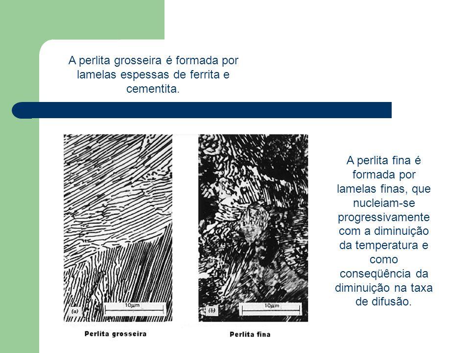 A perlita grosseira é formada por lamelas espessas de ferrita e cementita.