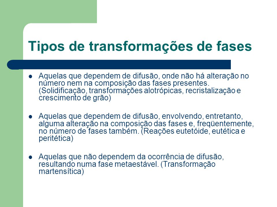 Tipos de transformações de fases