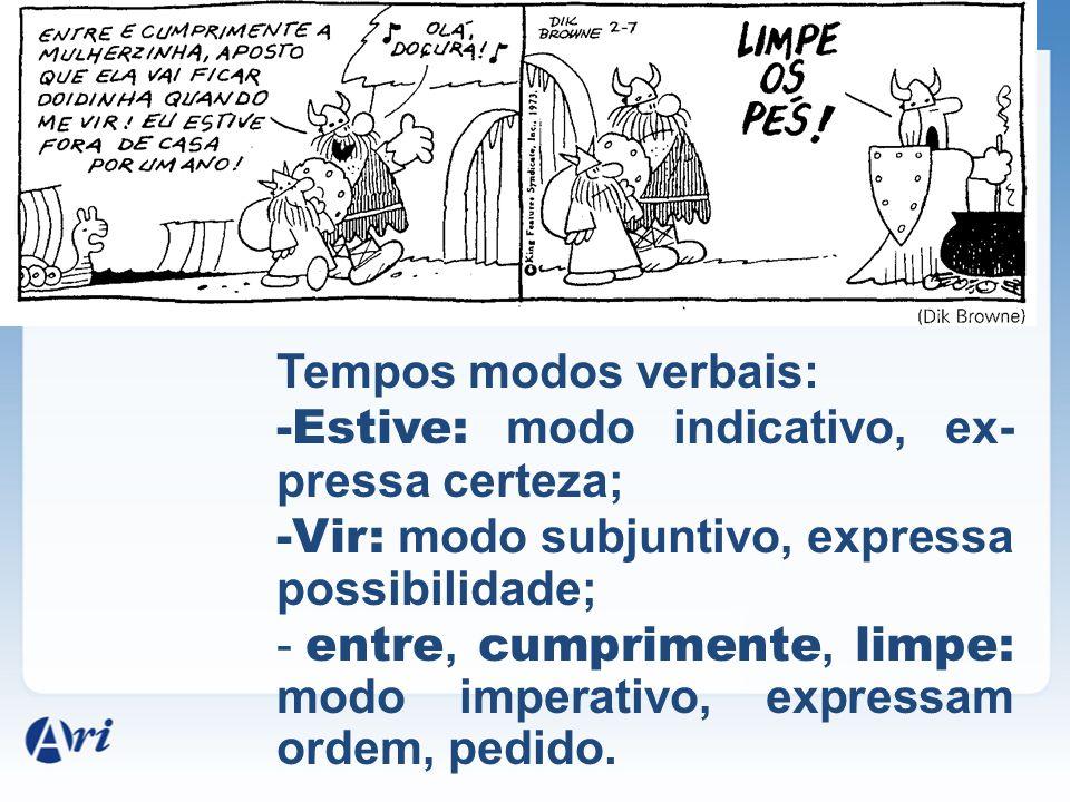 Tempos modos verbais: Estive: modo indicativo, ex-pressa certeza; Vir: modo subjuntivo, expressa possibilidade;