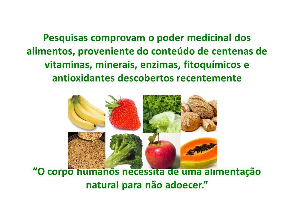 Pesquisas comprovam o poder medicinal dos alimentos, proveniente do conteúdo de centenas de vitaminas, minerais, enzimas, fitoquímicos e antioxidantes descobertos recentemente
