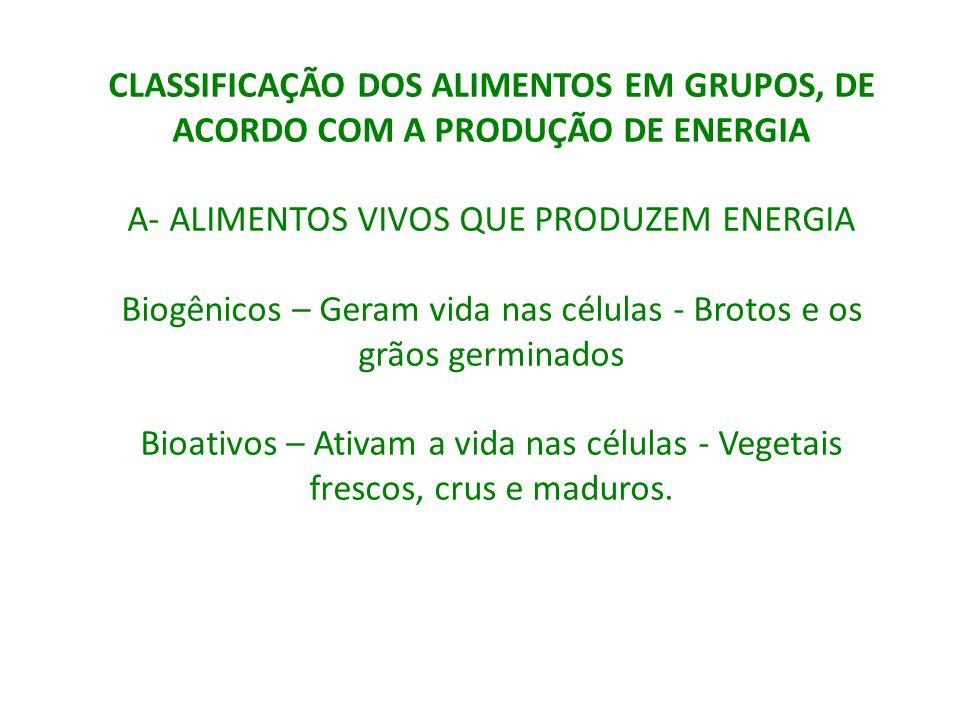 A- ALIMENTOS VIVOS QUE PRODUZEM ENERGIA