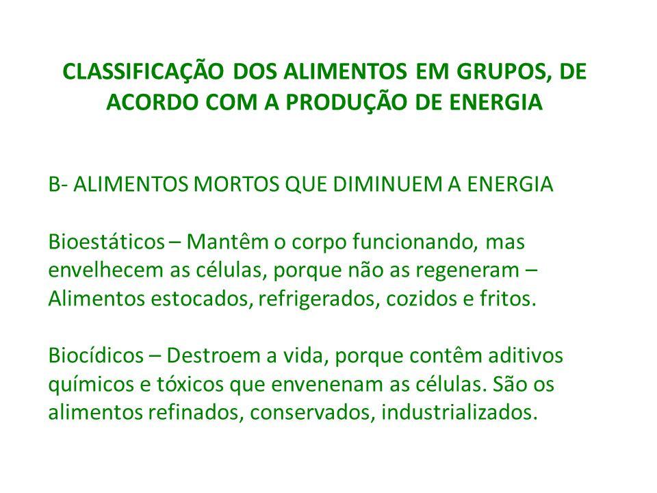 CLASSIFICAÇÃO DOS ALIMENTOS EM GRUPOS, DE ACORDO COM A PRODUÇÃO DE ENERGIA