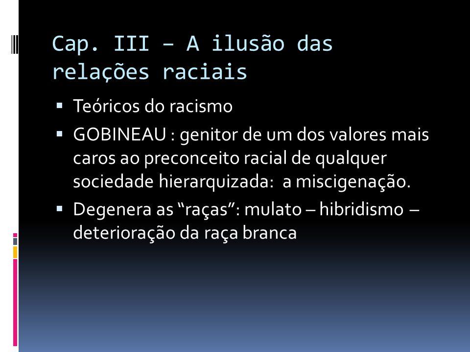 Cap. III – A ilusão das relações raciais