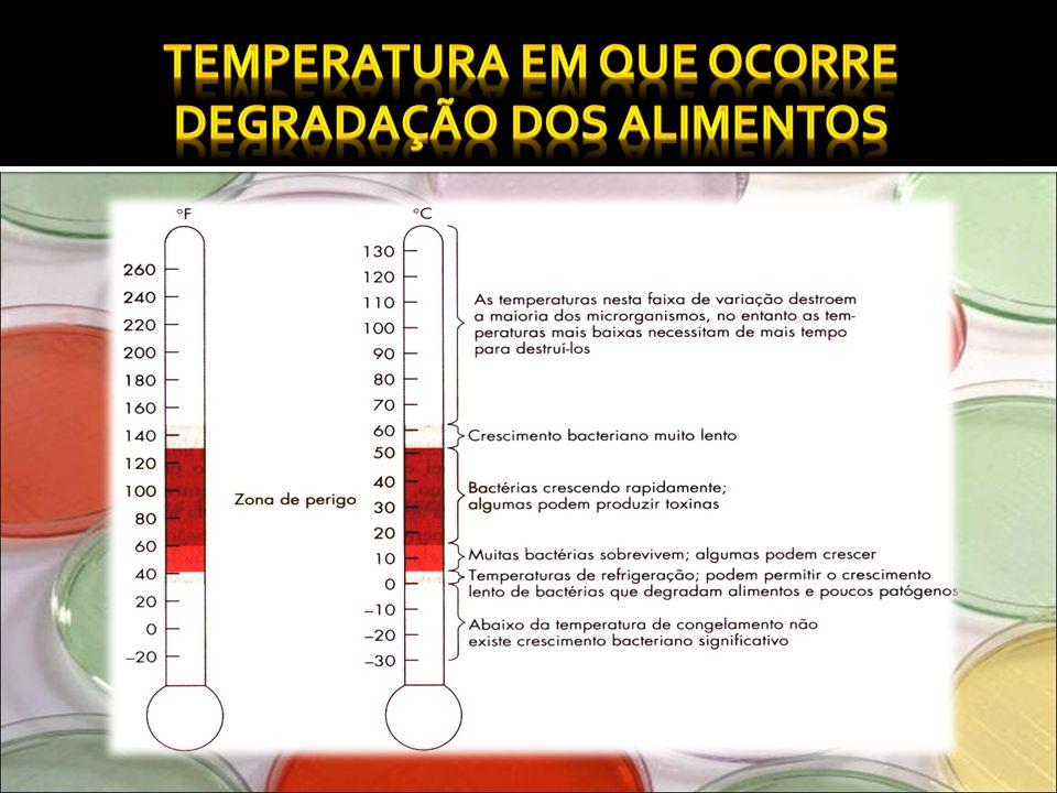 Temperatura em que ocorre degradação dos alimentos