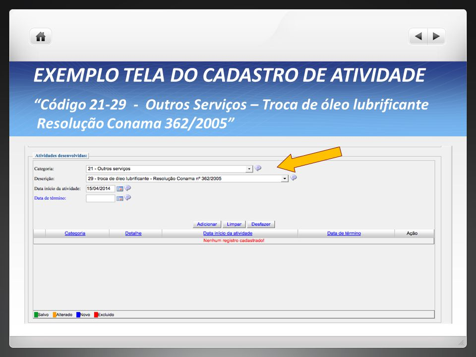 EXEMPLO TELA DO CADASTRO DE ATIVIDADE