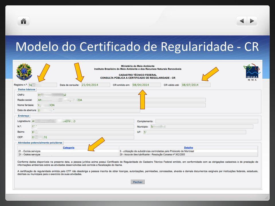 Modelo do Certificado de Regularidade - CR