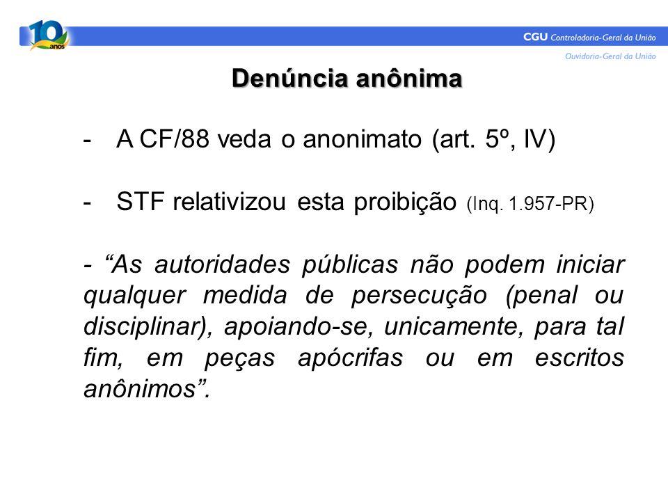 Denúncia anônima A CF/88 veda o anonimato (art. 5º, IV) STF relativizou esta proibição (Inq. 1.957-PR)