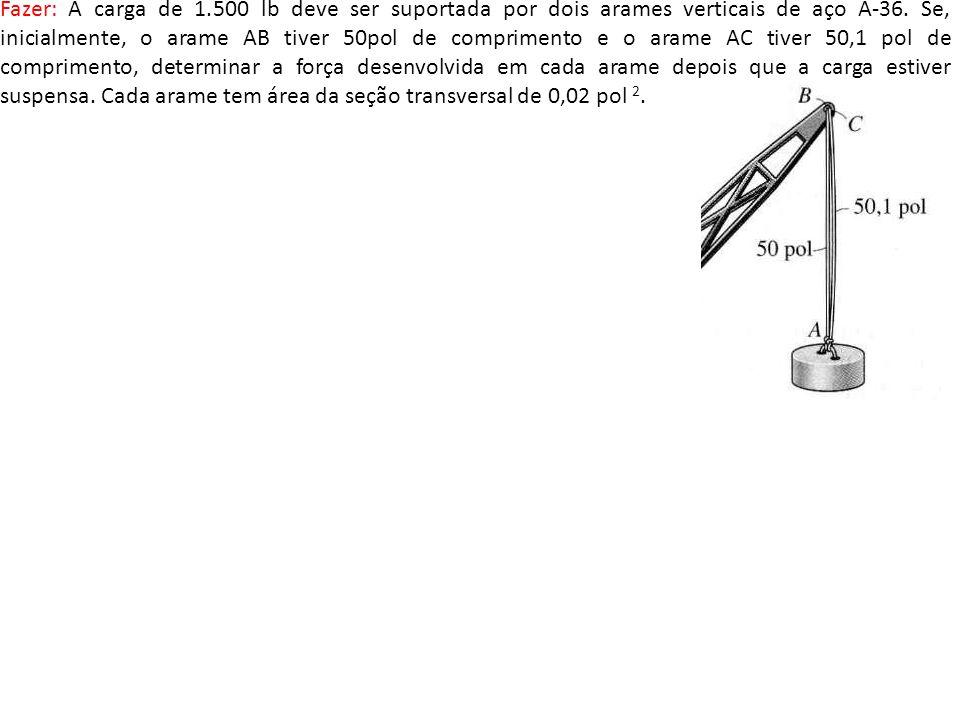Fazer: A carga de 1.500 lb deve ser suportada por dois arames verticais de aço A-36.