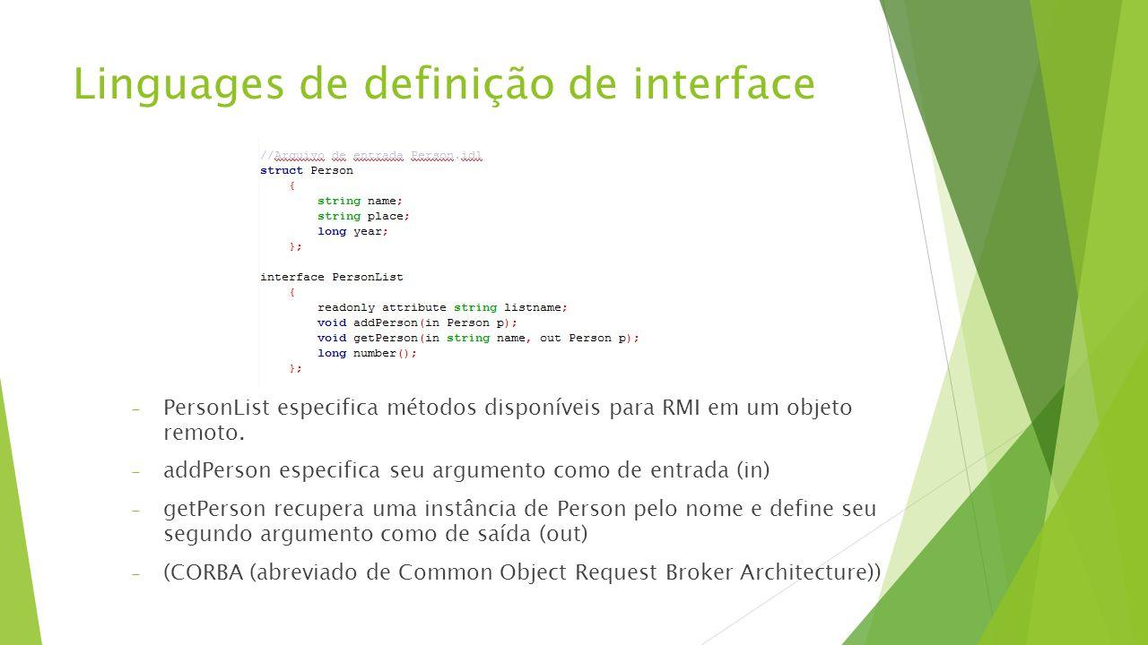 Linguages de definição de interface