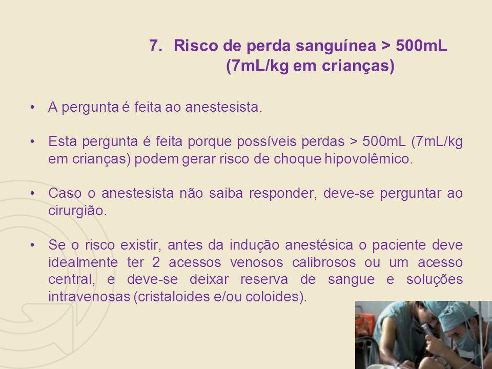 Risco de perda sanguínea > 500mL (7mL/kg em crianças)