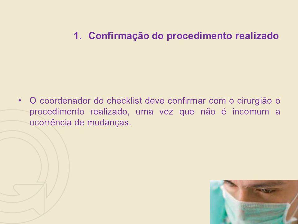 Confirmação do procedimento realizado