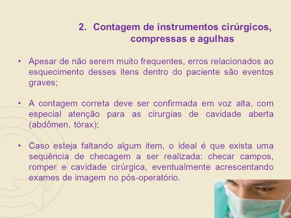 Contagem de instrumentos cirúrgicos, compressas e agulhas