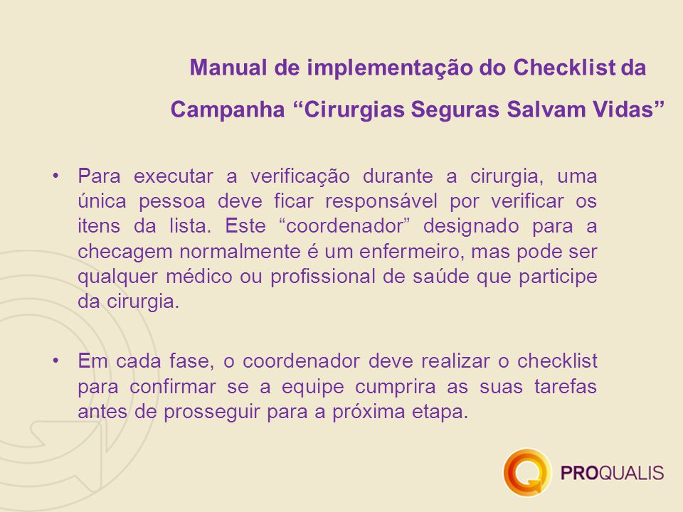 Manual de implementação do Checklist da Campanha Cirurgias Seguras Salvam Vidas