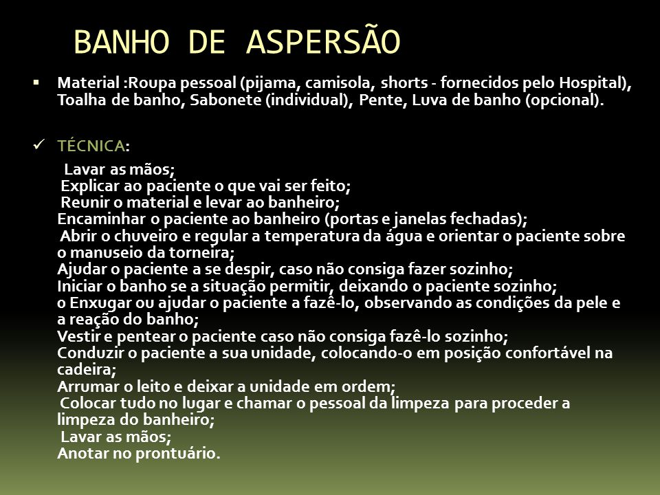 BANHO DE ASPERSÃO
