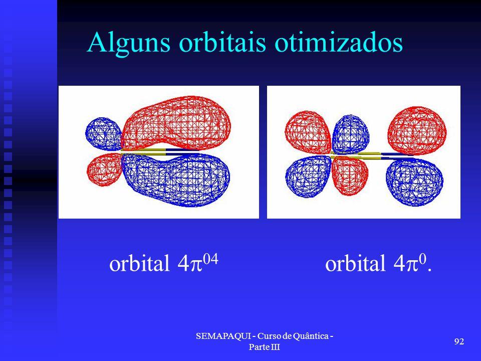 Alguns orbitais otimizados