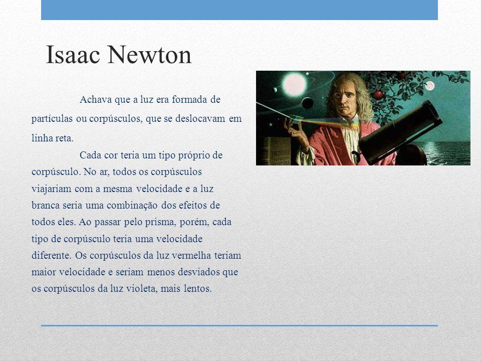 Isaac Newton Achava que a luz era formada de partículas ou corpúsculos, que se deslocavam em linha reta.