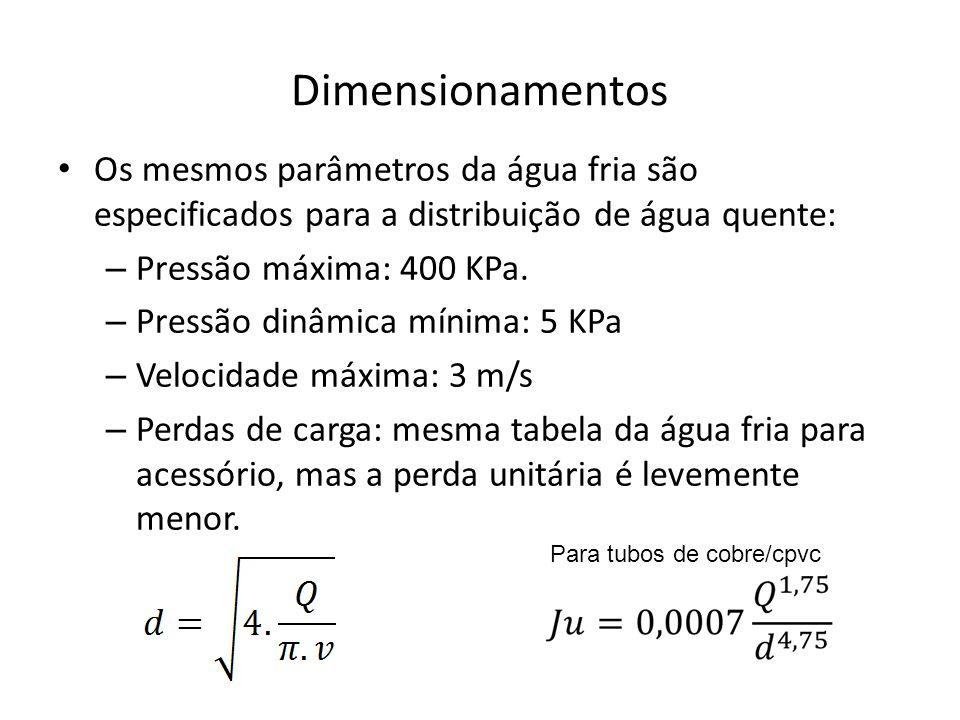Dimensionamentos Os mesmos parâmetros da água fria são especificados para a distribuição de água quente:
