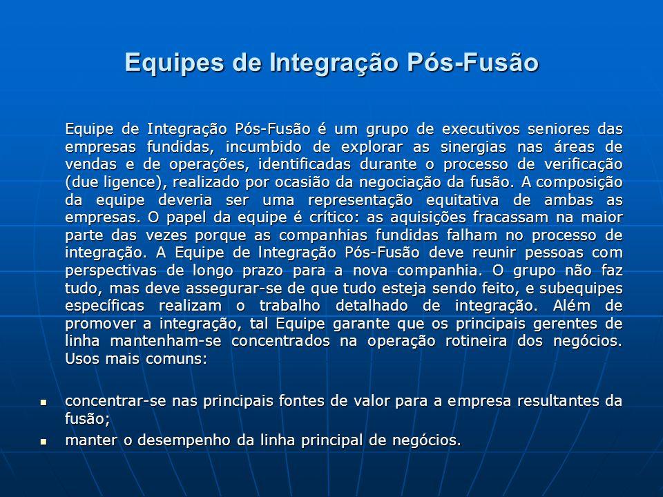 Equipes de Integração Pós-Fusão