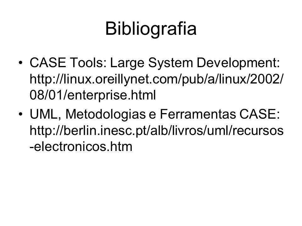 Bibliografia CASE Tools: Large System Development: http://linux.oreillynet.com/pub/a/linux/2002/08/01/enterprise.html.
