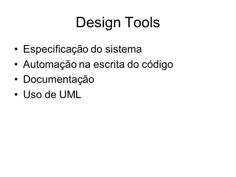 Design Tools Especificação do sistema Automação na escrita do código