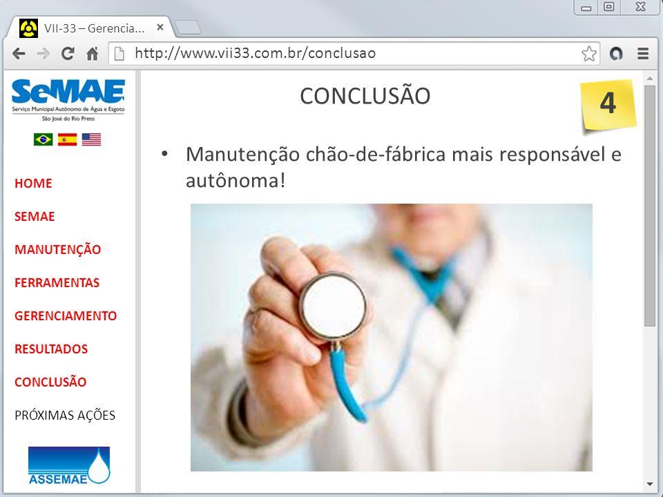 4 CONCLUSÃO Manutenção chão-de-fábrica mais responsável e autônoma!