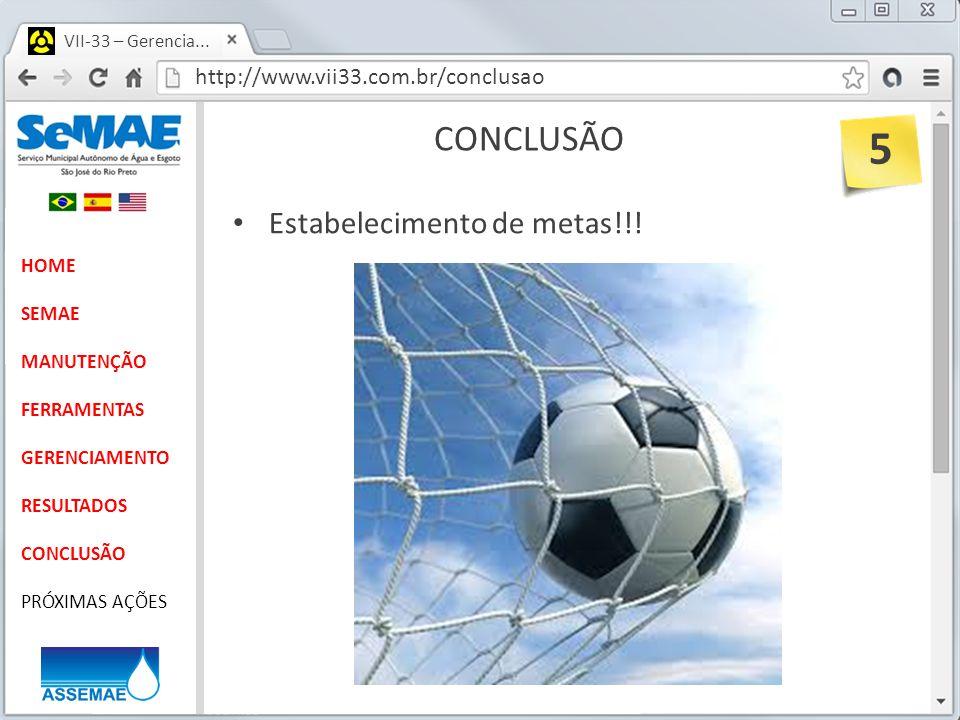 5 CONCLUSÃO Estabelecimento de metas!!!