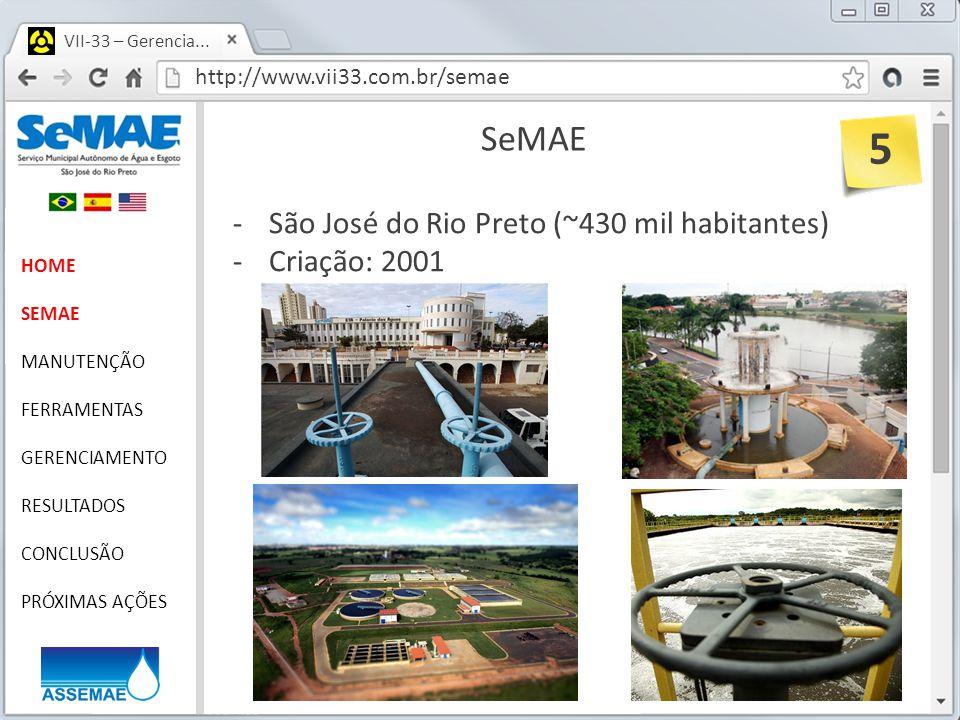 5 SeMAE São José do Rio Preto (~430 mil habitantes) Criação: 2001