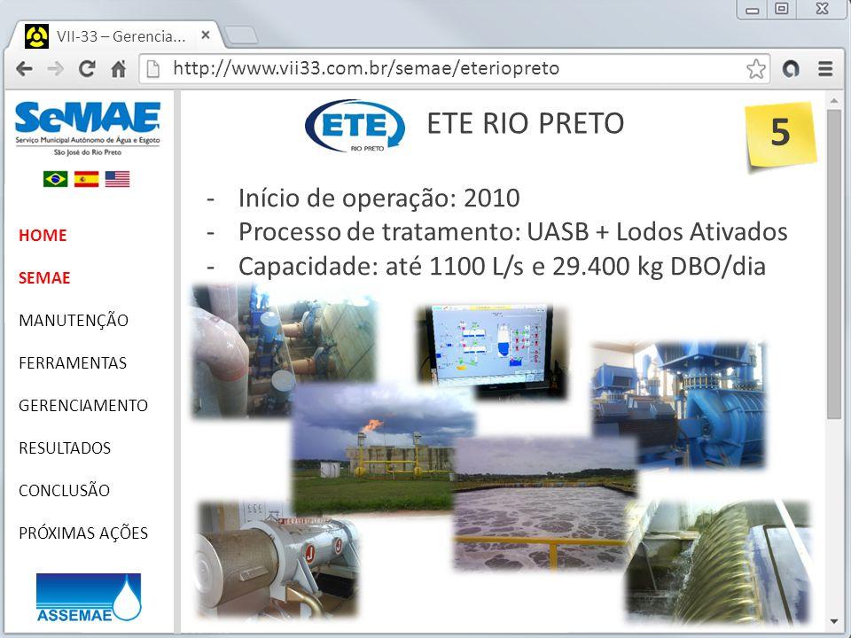 5 ETE RIO PRETO Início de operação: 2010