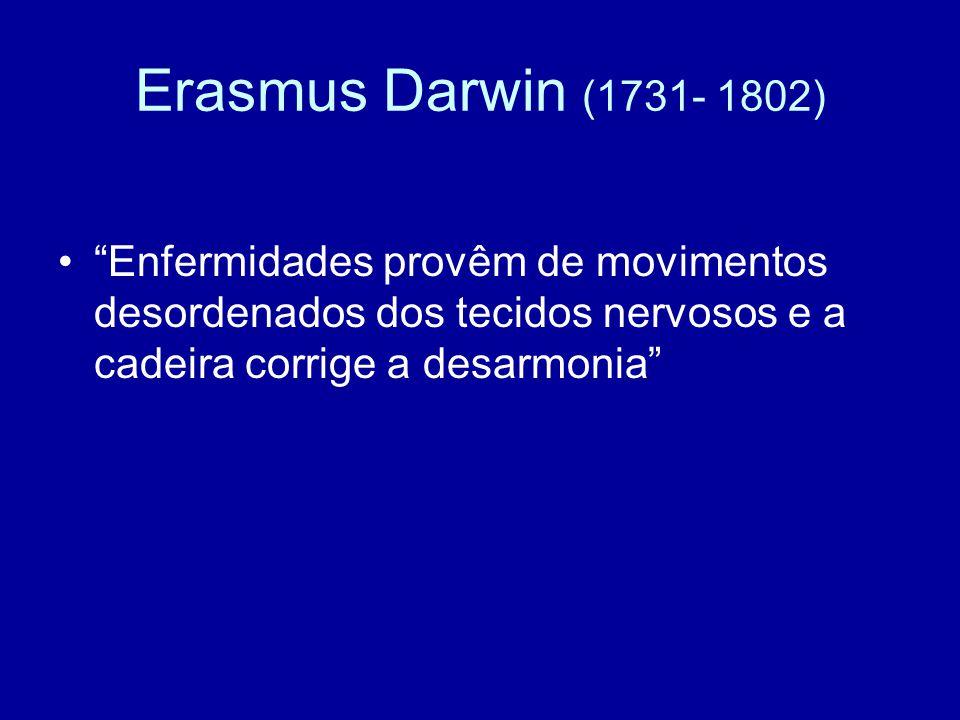 Erasmus Darwin (1731- 1802) Enfermidades provêm de movimentos desordenados dos tecidos nervosos e a cadeira corrige a desarmonia