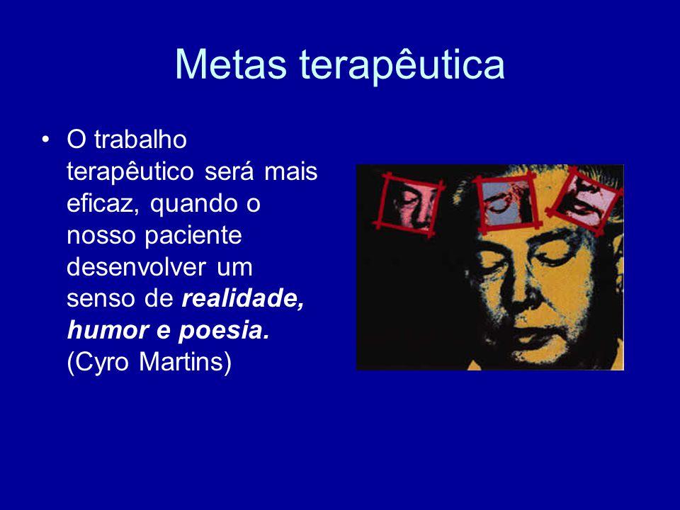 Metas terapêutica O trabalho terapêutico será mais eficaz, quando o nosso paciente desenvolver um senso de realidade, humor e poesia.