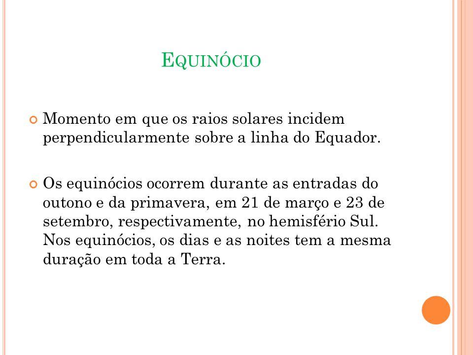 Equinócio Momento em que os raios solares incidem perpendicularmente sobre a linha do Equador.