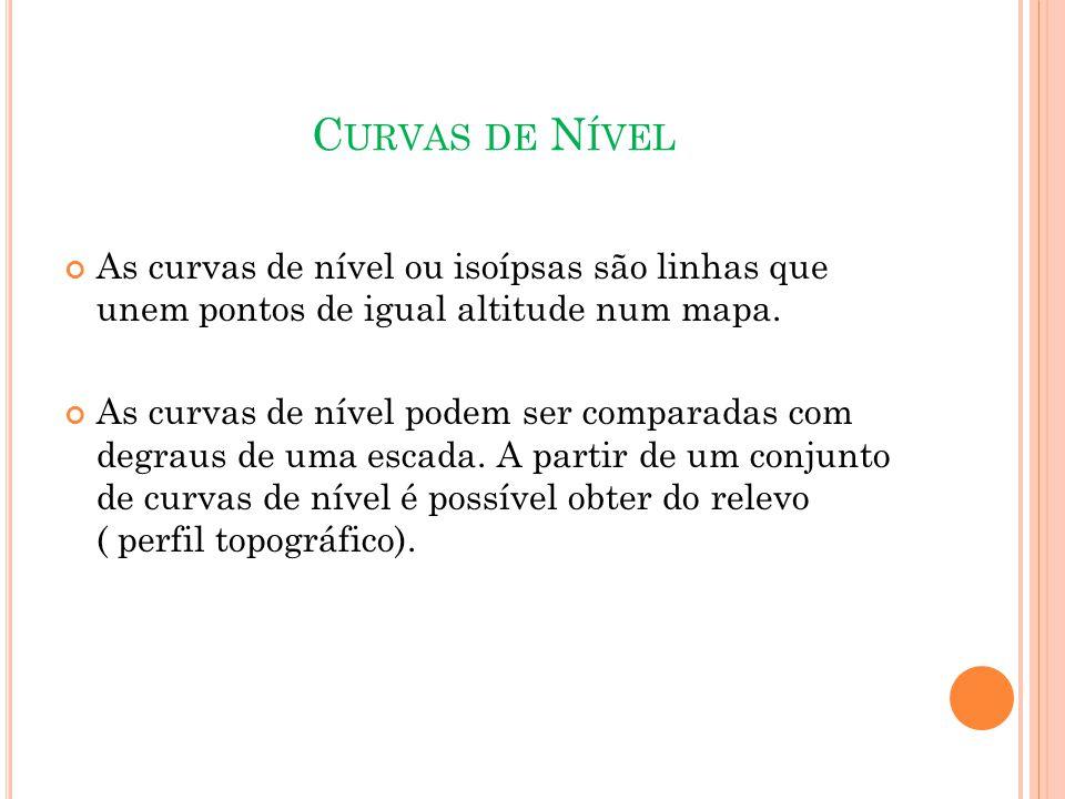 Curvas de Nível As curvas de nível ou isoípsas são linhas que unem pontos de igual altitude num mapa.