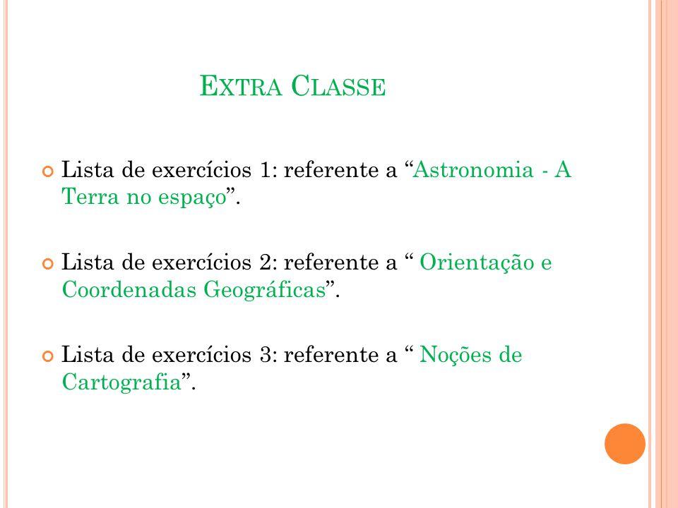 Extra Classe Lista de exercícios 1: referente a Astronomia - A Terra no espaço .