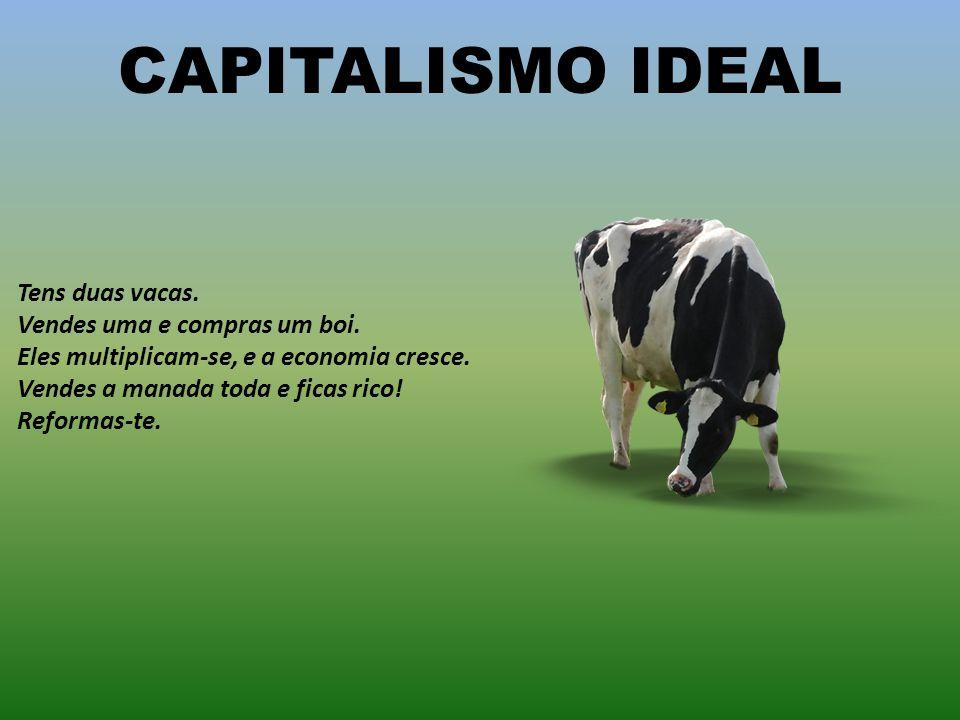 CAPITALISMO IDEAL Tens duas vacas. Vendes uma e compras um boi. Eles multiplicam-se, e a economia cresce. Vendes a manada toda e ficas rico!