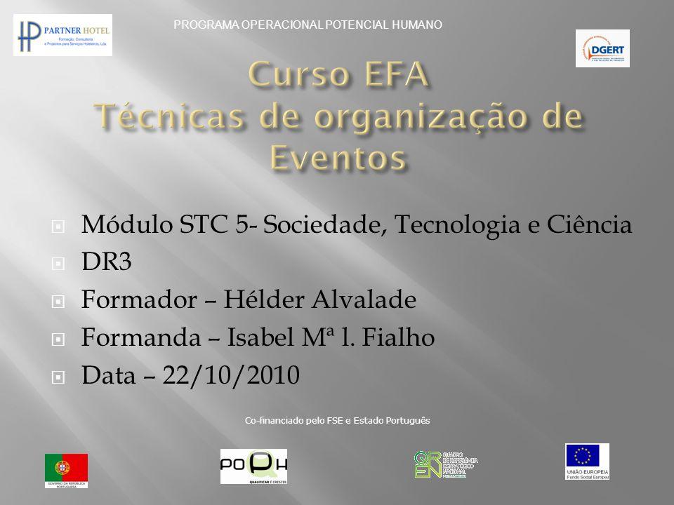 Curso EFA Técnicas de organização de Eventos