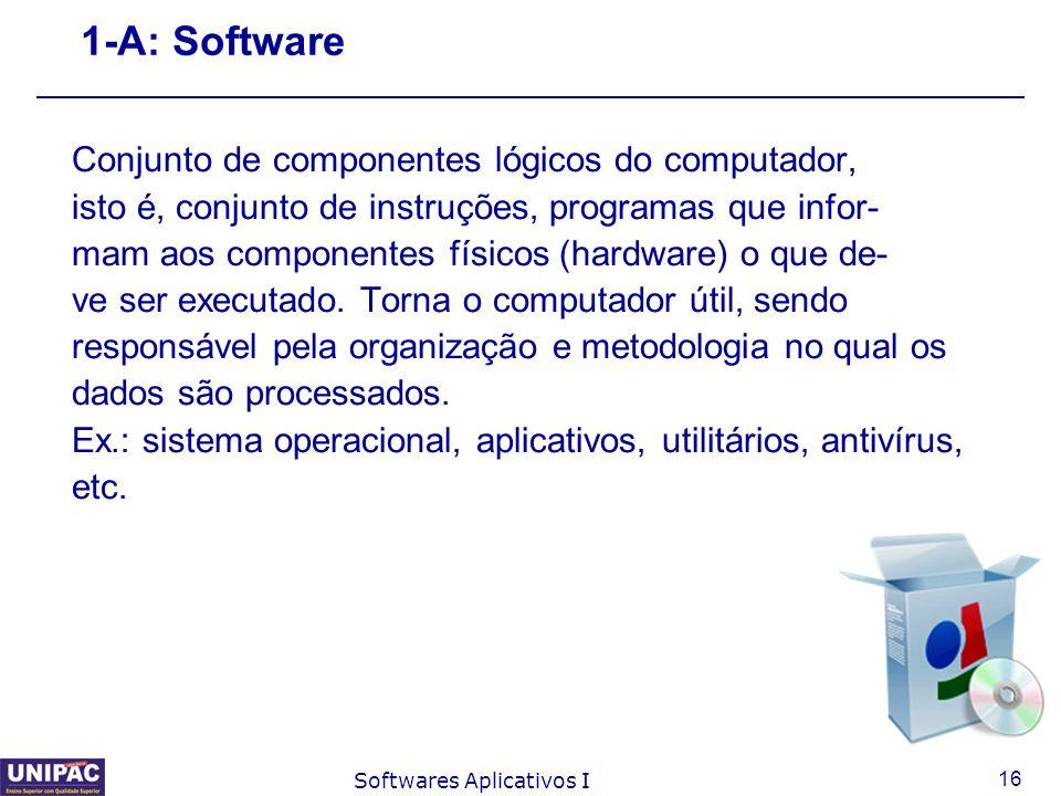 1-A: Software Conjunto de componentes lógicos do computador,