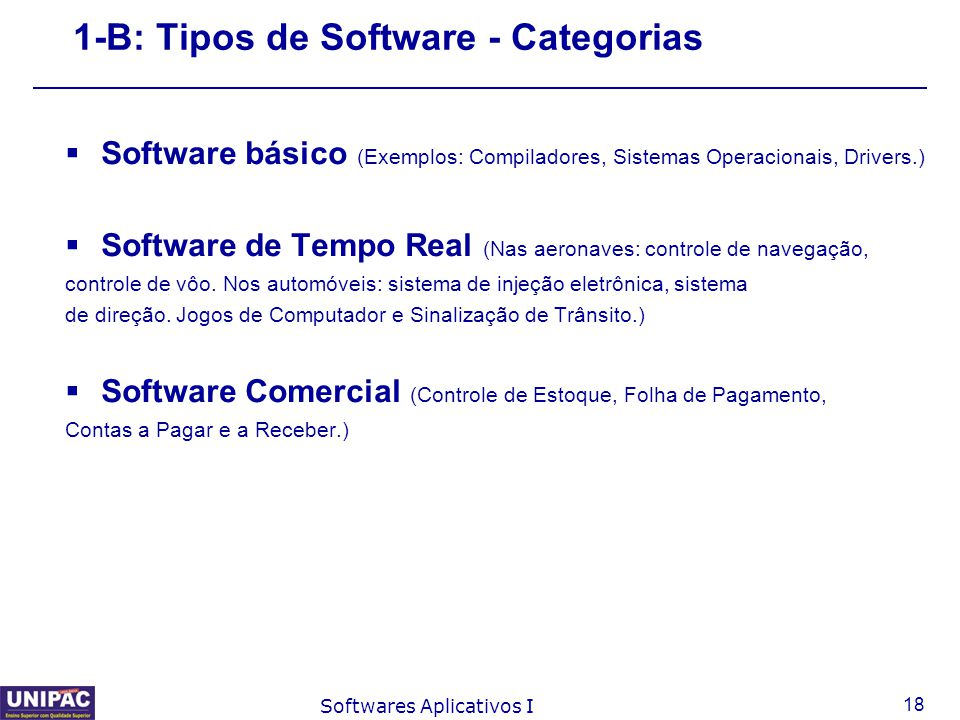 1-B: Tipos de Software - Categorias