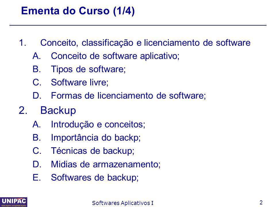Ementa do Curso (1/4) Backup