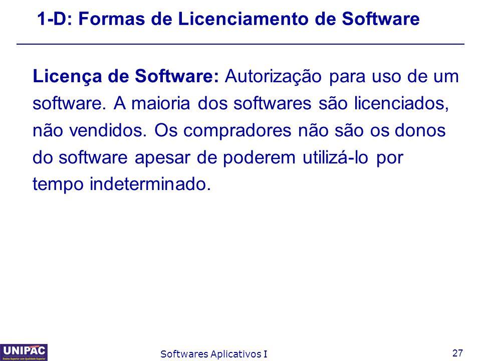 1-D: Formas de Licenciamento de Software