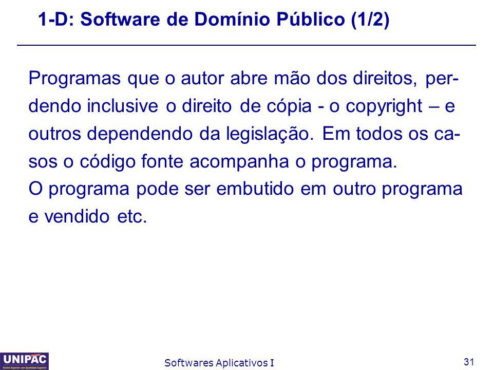 1-D: Software de Domínio Público (1/2)