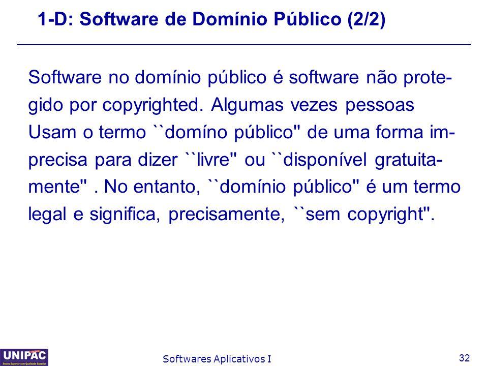 1-D: Software de Domínio Público (2/2)